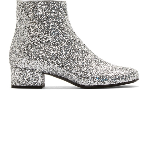 Saint Laurent Silver Glittered Galaxi Ankle Boots Ssense