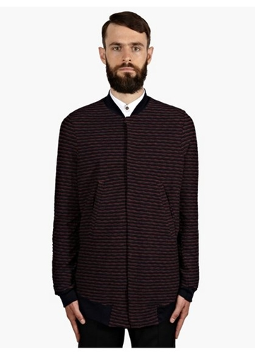 Men's Woven Jacquard Stripe Bomber Jacket