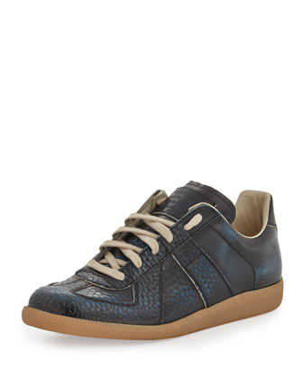 Maison Martin Margiela Replica Low Top Leather Sneaker Blue Black Neiman Marcus