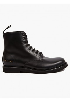 Men's Black Matte Leather Combat Boots