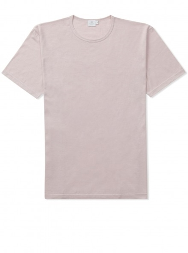 Designer Egyptian Cotton T Shirt in Pale Pink Sunspel