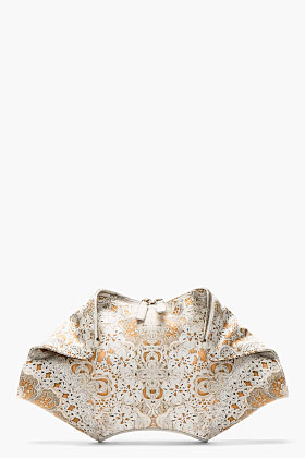Alexander Mcqueen Ivory Lace Print De Manta Clutch For Women Ssense