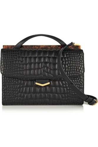 Fendi Demi Jour Croc Effect Leather Shoulder Bag Net A Porter.Com