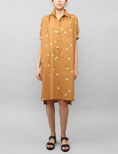 Creatures Of Comfort Tomlin Dress Pom Pom Print Mustard
