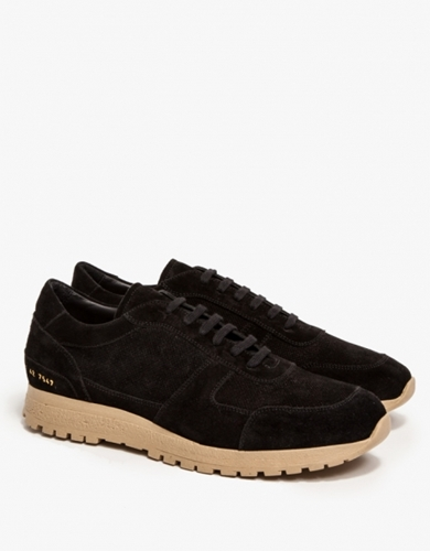 Track Shoe In Black Suede