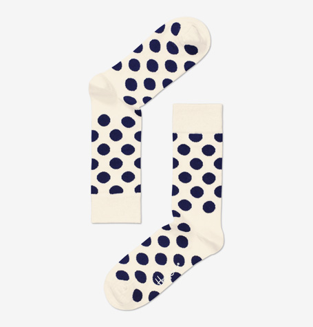 HUH Store Happy Socks Single Pair of Blue Cream Dotted Socks