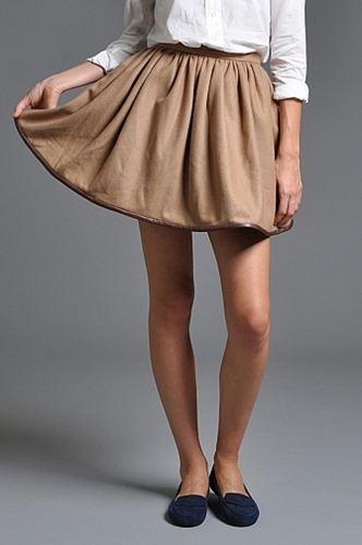 Handsom Leather Piped Skirt Camel someplace
