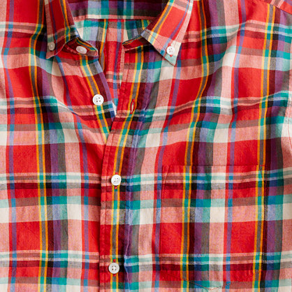 Indian cotton short sleeve shirt in Palermo plaid short sleeve shirts Men s shirts J Crew