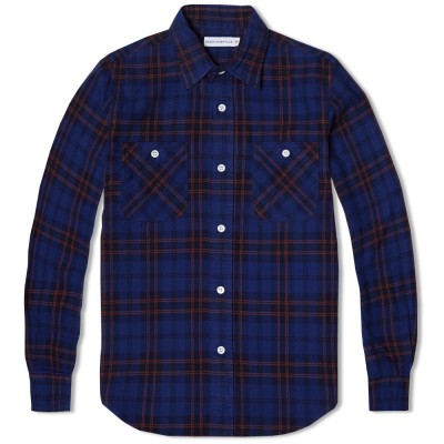 Head Porter Plus Print Check Shirt Navy