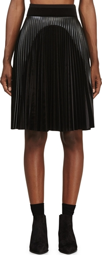 Denis Gagnon Black Pleated Velvet Skirt Ssense
