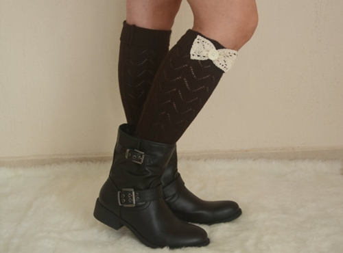 Chacolate Brown Lace Bow Leg Warmers Chunky Leg Warmers By Bstyle