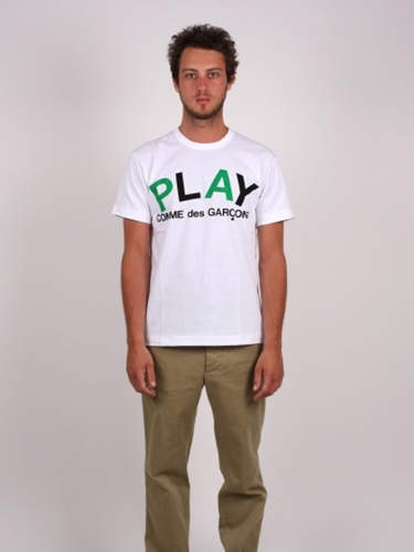 Comme Des Garcons Play Text Logo Tee Antic Boutik