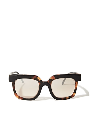Kuboraum Women's K8 Tortoise Black Matte Frame Light Brown Mirror Sunglasses Ln Cc