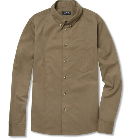 A P C Slim Brushed Cotton Shirt MR PORTER