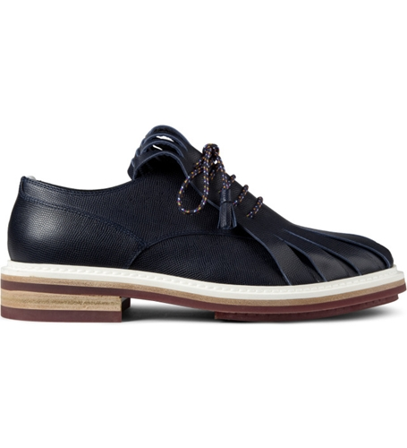 Krisvanassche Navy Fringed Tongue Derby Shoes Hypebeast Store. Shop Online For Men's Fashion Streetwear Sneakers Accessories