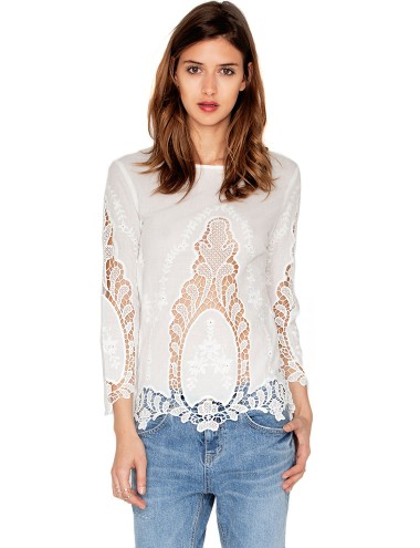 Pretty Crochet Top White Lace Top 62
