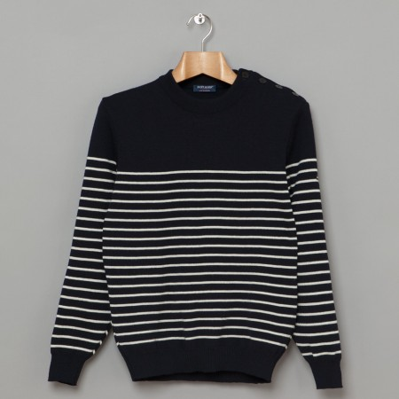 Binic II Sweater Navy Ecru Oi Polloi