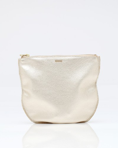 Medium Leather Pouch Platinum