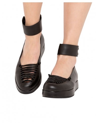 Black Lace Up Flatforms Ankle Strap Flats Ballet Flats 66