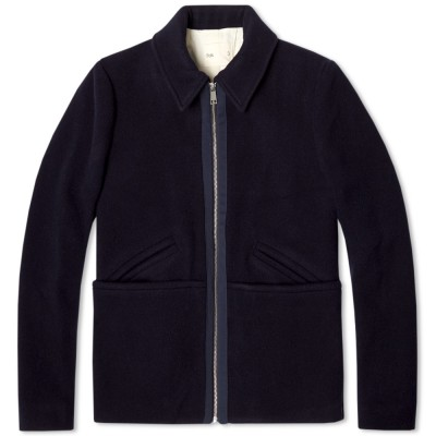 Folk Wool Note Short Jacket Navy