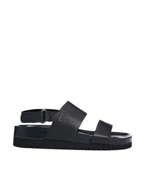 Senso Senso Iggy Black Footbed Flat Sandals At Asos