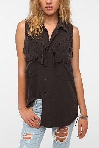UrbanOutfitters com Urban Renewal Fringed Silk Shirt