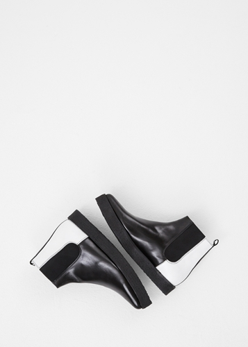 Totokaelo Pierre Hardy Black White Wedge Sole Chelsea Boot