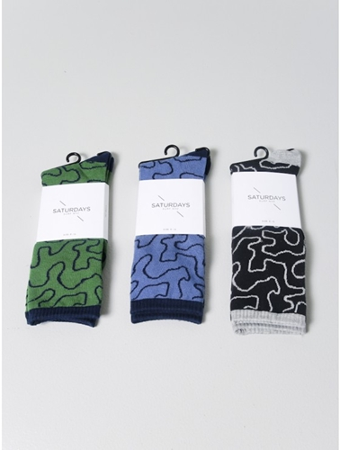 Saturdays Mountain Print Socks Black Oak