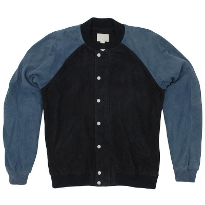 Band of Outsiders Suede Varsity Jacket Dark Blue