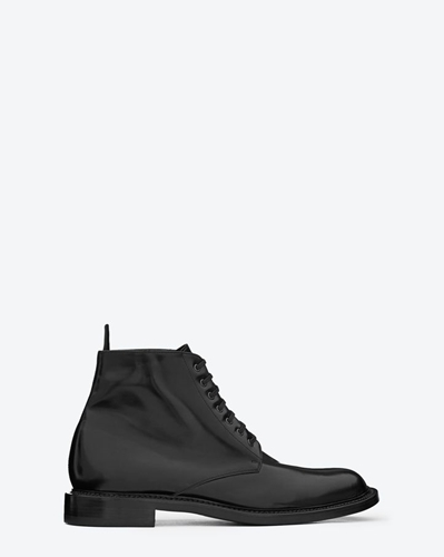 Saint Laurent Signature Lace Up Boot In Black Leather Ysl.Com