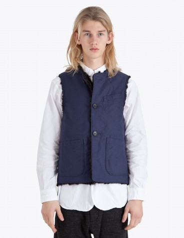 Engineered Garments Reversible Over Vest Navy Tres Bien
