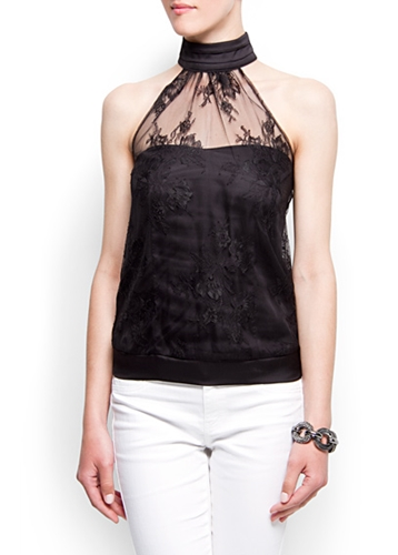 MANGO CLOTHING Tops Halter neck lace top