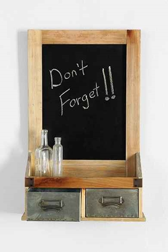 Dual Drawer Chalkboard Wall Shelf
