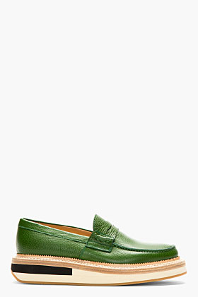 Giuliano Fujiwara Green Grained Leather Penny Loafers For Men Ssense
