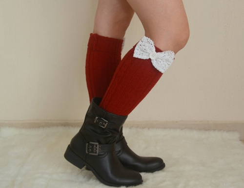 Red Lace Bow Leg Warmers Chunky Leg Warmers Girly Leg By Bstyle