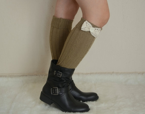 Sage Green Bow Leg Warmers Chunky Leg Warmers Girly Leg By Bstyle