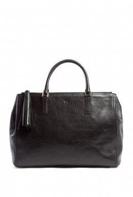 Anya Hindmarch Black High Shine Leather Pimlico Tote by Anya Hindmarch