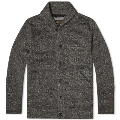 Beams Plus Herringbone Shawl Collar Cardigan Charcoal