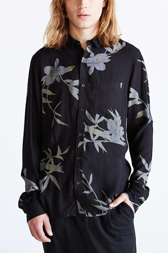 Neuw Orchid Rayon Button Down Shirt Urban Outfitters