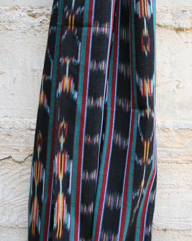 Mohawk General Store Selvedge Guatemalan Hand Woven Scarf in Black Ikat Turquoise Red Stripe