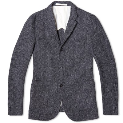 Beams Plus 3 Button Harris Tweed Blazer Grey Herringbone