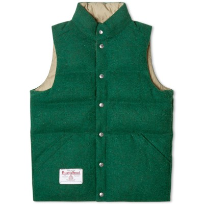 Beams Plus Reversible Harris Tweed Down Vest Green
