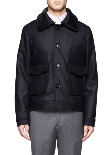 Hardy Amies Fur Collar Wool Blend Coat Black Short Coats Coats Menswear Lane Crawford Shop Designer Brands Online