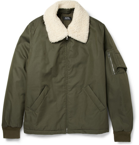 A.P.C. Shearling Collar Cotton Blend Bomber Jacket Mr Porter