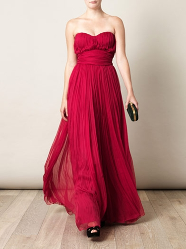 Strapless pleated chiffon gown Alexander McQueen Matchesfa
