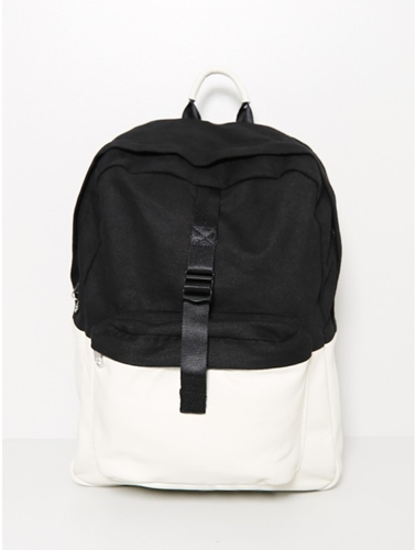 Oak Combo Leather Backpack Black White Oak
