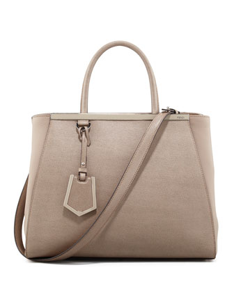 Fendi 2Jours Vitello Elite Medium Tote Bag Dove Neiman Marcus