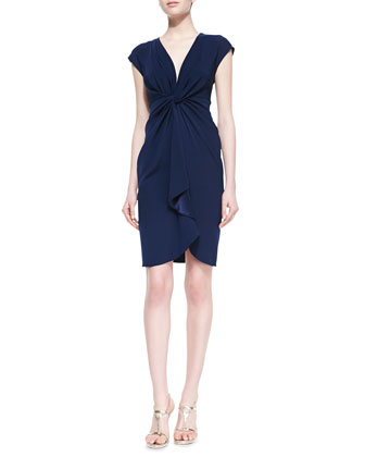 Catherine Malandrino Cap Sleeve Cascading Ruffle Front Cocktail Dress