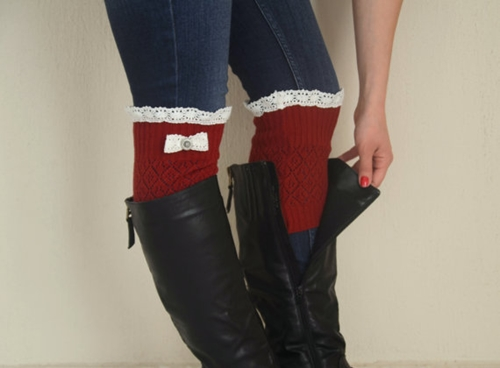 Red Knit Bow Lace Boot Cuffs Boho Boot Socks Lace Cuffs By Bstyle