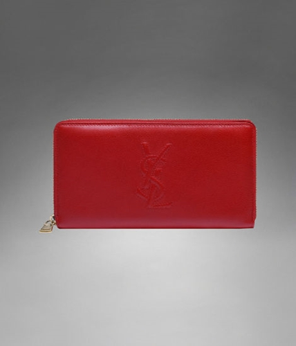 Ysl Zip Wallet In Red Leather Large Wallets | Nuji